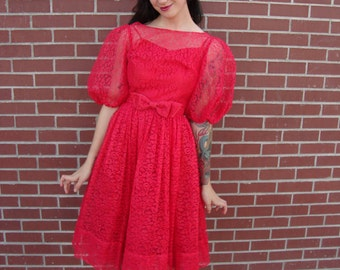 1950's Lipstick Red Lace Prom Party Dress MINT Condition Rockabilly Dreams