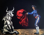 ferdinand the bull finds it all a bit ridiculous.  a one of a kind painting in black velvet