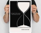 "Literary Art Print, "" Omar Khayyam"" Large Wall Art Posters, Literary Quote Poster, Illustration, Black and White Art, Literary Gift"