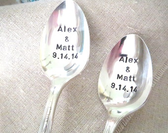 Custom Spoons, Personalized Spoons, Weddings Spoons, Handstamped Spoons, Vintage Silverplated Utensil, Unique Gift Idea, Gift Under 30