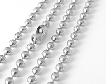 30 Feet Silver Large Ball Chain, 4mm, Necklace Bracelet Unfinished Link, A37-02
