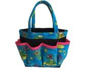 Frogs on Lily Pads Bingo Bag // Craft Organizer // Makeup Organizer // Caddy // Teacher Tote // Nurse Tote