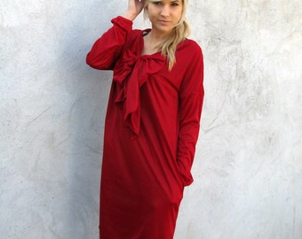 ON SALE Big Bow Long-Sleeve Dress with side pockets - Red S/M