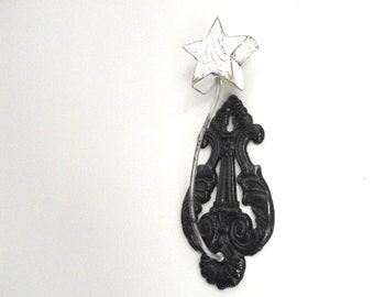 Vintage Receipt Spike Hook | Repurposed Picture Hanger | Cast Iron Wall Mounted Hook | Cottage Chic Farmhouse Decor | Office Wall Decor