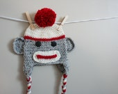 Sock monkey hat, toddler sock monkey hat, crochet monkey, red cream and gray, 12 Month to 4T sizes available