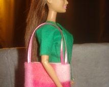 Pink camoflage print Fleece tote bag purse for Fashion Dolls - bap23