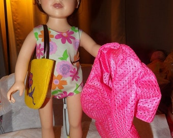 Floral swimsuit, pink cover-up, yellow tote bag & yellow sandals for 18 inch Dolls - ag230