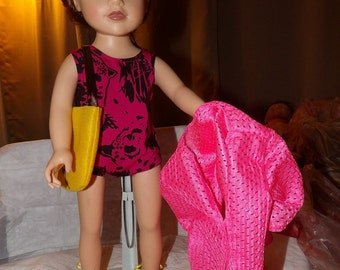 Pink & black swimsuit, pink cover-up, yellow tote bag and yellow sandals for 18 inch Dolls - ag228