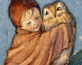 Loves Warmth - Owl and Elf - ADHESIVE -   Personalized Bookplates - Winter snuggling