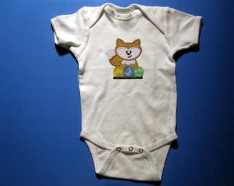 Baby one piece or toddler tshirt - Embroidery and appliqued girls Easter fox