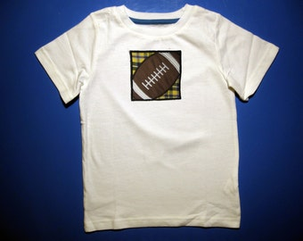 Baby one piece or toddler tshirt - Embroidery and appliqued football in a box