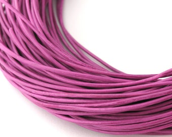 LRD0105171) 0.5mm Deep Lilac Genuine Round Leather Cord.  1.9 meter, 3 meters, 5 meters, 10 meters, 14.5 meters.  Length Available.
