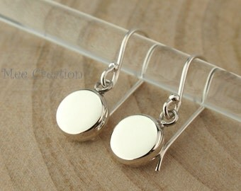 EE925010202) Round Coin shape, 925 Sterling Silver Earrings