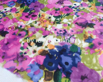 """silk fabric, water colour floral print silk cotton blend fabric, one yard by 53"""" wide"""