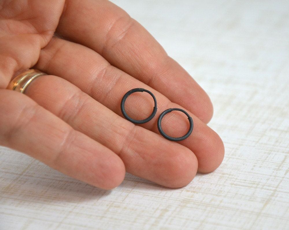 Unisex Gifts Under 20 ready to ship small black hoop earrings for men or women