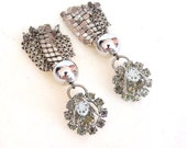 Vintage 1960s Rhinestone Earrings Chain Maille Drops