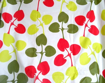 Mod Flower Fabric Oilcloth Chartreuse Green Scarlet Red  1.3 yards