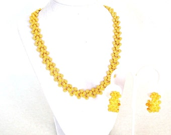Vintage Gold Nugget Necklace Earrings Set