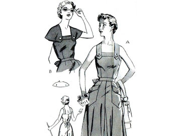 Vintage 1950s Culotte Dress Pattern Uncut Capelet Bust 36 Size 18 Mail Order 2041