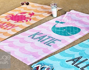 monogrammed WAVES beach towel - rouge junior - ultra-soft 30x60 microfiber velour - enter custom options in message to seller at checkout
