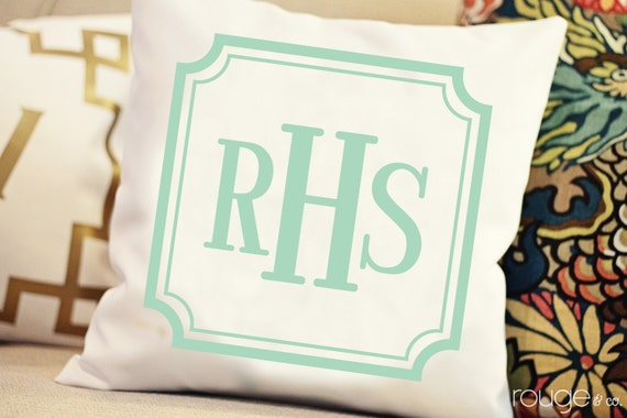 monogrammed throw pillow - NEW COLORS and styles - customize font style and ink color