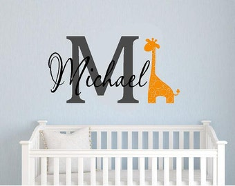 Childrens Monogram Name   boys- girls- Giraffe bedroom baby nurseryVinyl Lettering wall words Home decor itswritteninvinyl