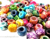 Glass Roller Beads, Assorted Color Glass Crow Pony Beads, 9mm, 50pc
