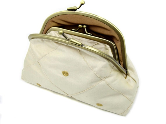 Cream Kiss Lock Wallet Coin Purse Clutch Gift for Women Gold Circles Embroidery