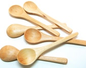 6 Small Wood Spoons- Mini Wooden Spoons for Honey and Bath Salt Jars, Seasonings, Jelly and Jam, Mixes