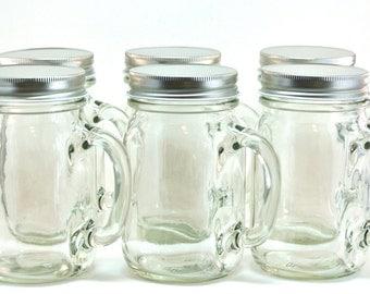 12 mason jar mugs 16 ounce mason jars with handle and cap. Black Bedroom Furniture Sets. Home Design Ideas