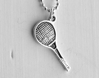 Tennis Necklace, Tennis Jewelry, Tennis Racket Necklace, Tennis Racket Charm, Charm Necklace, Sterling Silver Jewelry, Tennis, .925