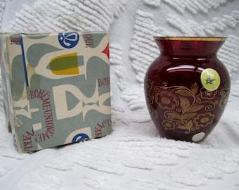 Vintage Bohemian Czechoslavokia Ruby Red Garnet Glass Vase in Orignal Box