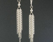 Sterling Silver Fringe Earrings, Long Silver Earrings, Long and Elegant, Valentine's Day Gift, Handmade in the USA, Flowing Silver Chain