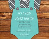 Overalls invitation, Onesie Invitation, Teal, Baby Blue, Baby Shower Invitation -- 20 Onesie die cut printed cards in any color