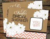 Chevron Spring Floral Kraft Scratch Off Ticket Favors - Set of 20 Tickets - Wedding, Shower or Birthday favors