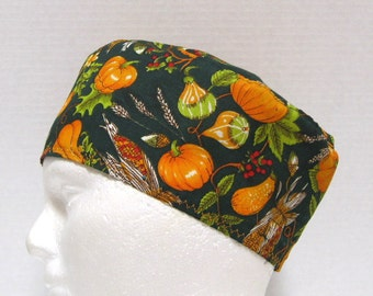 Unisex Scrub Hat, Surgical Cap or Chemo Hat Autumn Harvest