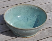 Stoneware Pottery Clay Bowl, speckle clay body with blue green glaze.