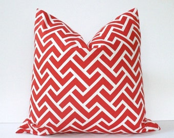 "Coral Organic Geometric Designer Pillow Cover 20"" White Modern accent cushion hollywood regency imperial trellis zig zag chevron peach"