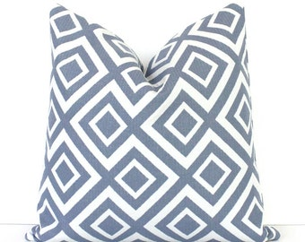 Light Blue and White Geometric Designer Pillow Cover Modern accent hollywood regency wedgewood david hicks style gray grey Pantone serenity