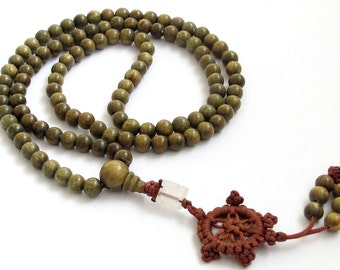 6mm 108 Green Sandalwood Beads Tibet Buddhist Buddha Prayer Stretchy Japa Mala  ZZ004