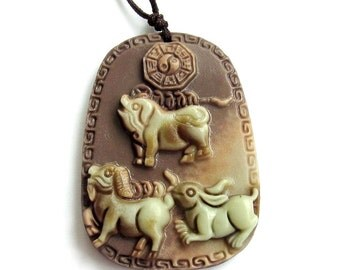 Tai-Ji 8-Diagram Fortune Pig Dog Rabbit Coin-Strands Two Layer Natural Stone Amulet Pendant 48mm x 35mm  ZP019