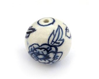 3Pcs Hand Crafted Round Porcelain Flower Leaf Loose Beads DIY Finding 24mm x 24mm  ja579