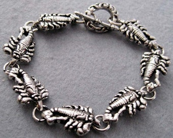 Men's Cool Alloy Metal Scorpion Beads Bracelet  T1990