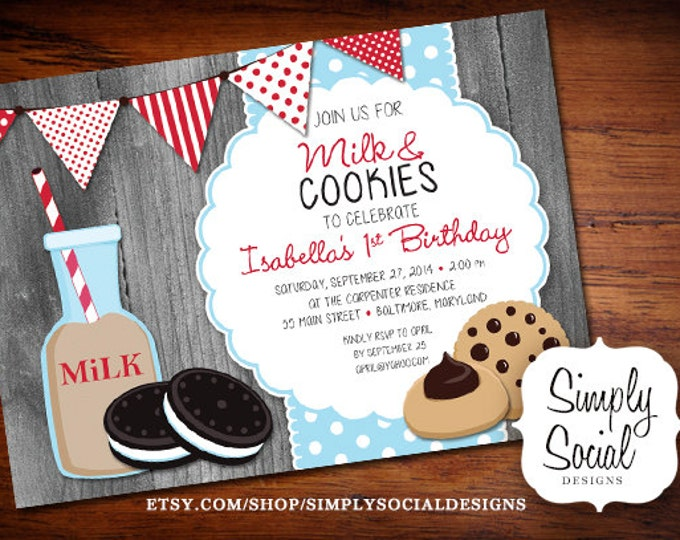 Milk and Cookies Birthday Party Invitation Kids Barnwood Rustic Printable