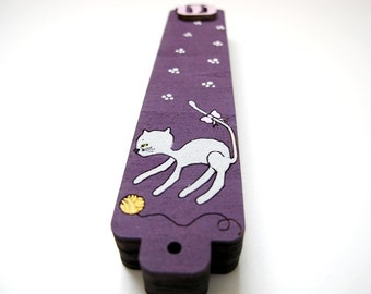 On sale- Kids mezuzah purple and gray cat mezuzah for a new baby new born girl nursery room