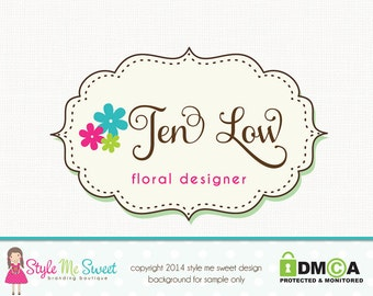 Premade Flower Logo Florist Logo Photography Logo Hand Drawn Small Business Logo Watermark Logo