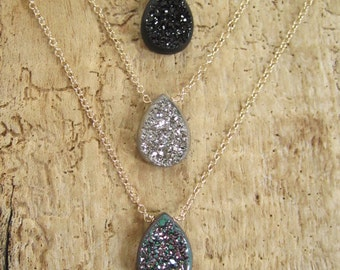 Window Druzy Necklace Titanium Drusy Quartz 14K GF Cable Chain