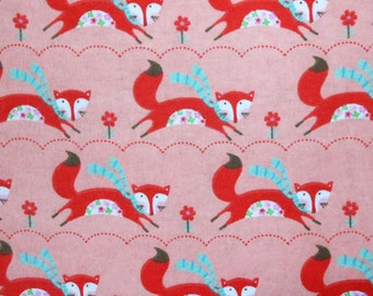 Foxes and Flowers - Flannel - 1 yard