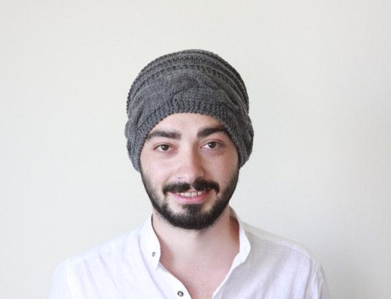 Grey Men knit hat, Winter hat for men, Grey hat, Slouch hat for men, Winter hat, Wool hat for boyfriend, Unisex knit hat, Unisex slouchy hat