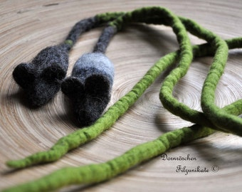 "felted cat toy ""Mouse"" with long string"